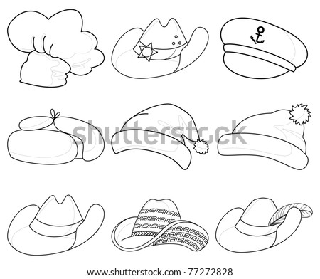 set contours of various hats: Santa Claus, cook, sheriff, musketeer, captain and others