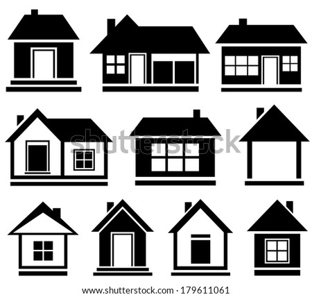 set cottage icons - black isolated house silhouette - stock photo