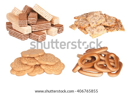 Set - delicious cookie, isolated on white background - stock photo