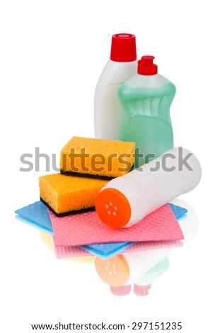 set detergents and accessories for cleaning - stock photo