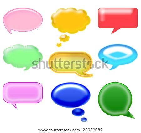 set different glossy icons. speech and thought bubbles on a white background. ideal for chat and website - stock photo