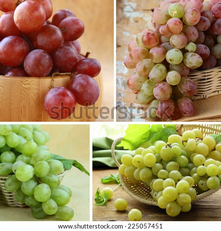 Set different grapes white and red on a wooden table - stock photo
