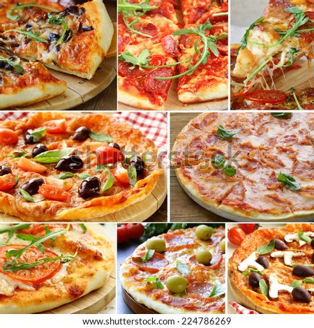 Set different kinds of pizza with olives, tomatoes and mushrooms - stock photo
