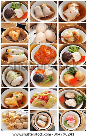 Set dim sum in bamboo steamer, chinese cuisine - stock photo
