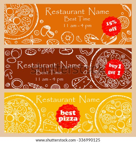 Set discount fliers for pizzeria and restaurants. Illustration for banners, posters, fliers, web design with hand drawn doodle elements - stock photo
