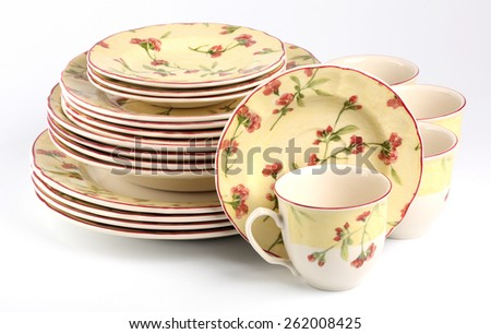 Set dishes isolated - stock photo