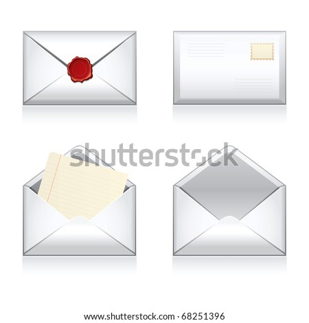 Set  e-mail, envelop icons with wax press. - stock photo
