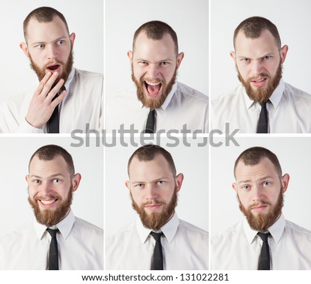 Set emotions man in a tie - stock photo