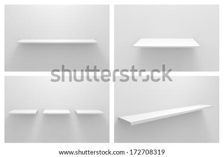 Set Empty white shelves - stock photo