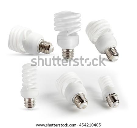 Set Energy saving light bulb on a white background isolated. - stock photo