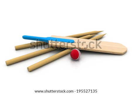 set equipment for cricket - stock photo
