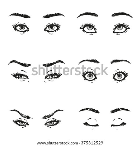 Stock Vector Closed Eyes With Eyelashes And Eyebrows Vector Illustration on different cartoon people