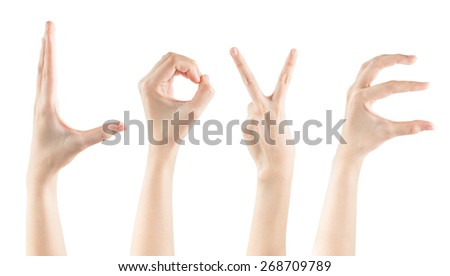 Set female hands gestures making word LOVE isolated on white background, clipping path - stock photo