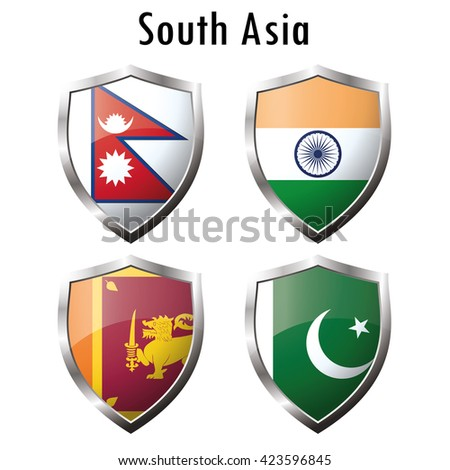 Set flag icon.India, Pakistan, Sri Lanka, Nepal.