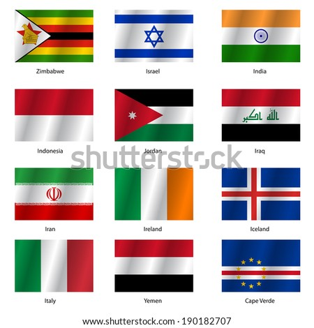set flags world sovereign states illustration stock illustration