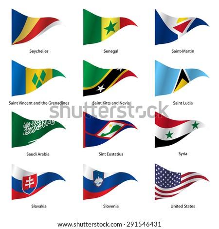 Set  Flags of world sovereign states triangular shaped.  illustration.  - stock photo