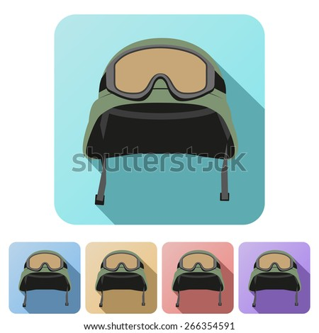 Set Flat icons of green military helmet with goggles. Illustration - stock photo