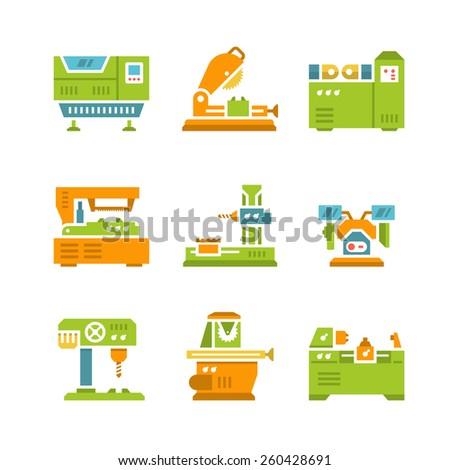 Set flat icons of machine tool isolated on white - stock photo