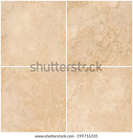 set floor tiles beige stone background - stock photo
