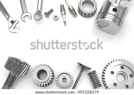 Stock Photo Set Fo Tools And Gear On White Background Engine Pistons Working Tools D Illustration on Cylinder V6 Tattoo