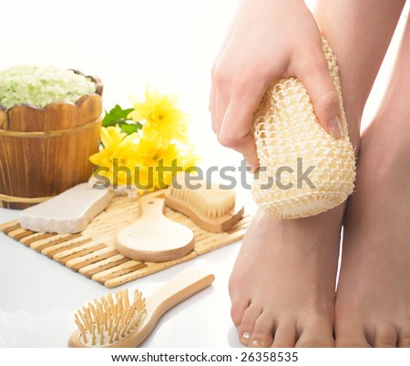 Set for a bath and hygiene of legs - stock photo