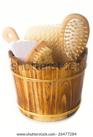 Set for a bath on white background - stock photo