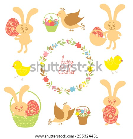set for Easter with Easter items - stock photo