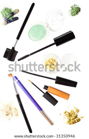 set for eye make-up isolated on white