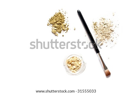 set for eye make-up isolated on white - stock photo