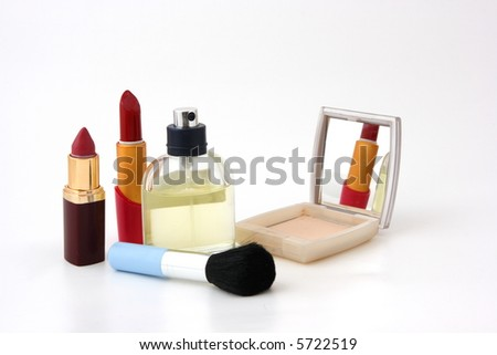 set for make-up on white background - stock photo