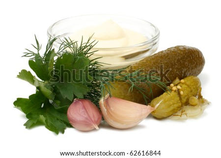 Set for making tartar sauce with pickles. Isolated on white background.