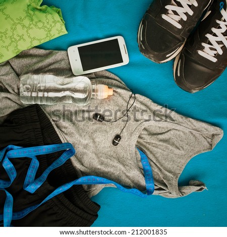 set for  man sports activities - stock photo