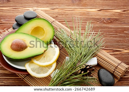 Set for massage or body care procedures with different ingredients - stock photo