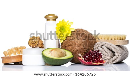 Set for massage or body care with different ingredients - stock photo