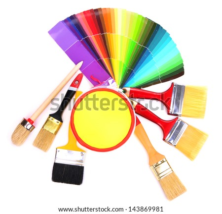 Set for painting: paint pots, brushes, palette of colors isolated on white - stock photo