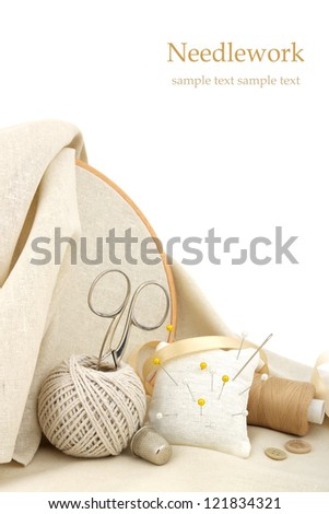 Set for sewing and embroidery - stock photo