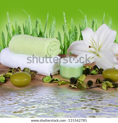 Set for spa-procedures on a bamboo rug - stock photo