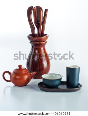 set for tea ceremony, tea pair, Cup, saucer, tea, teapot, spoon, tableware clay - stock photo