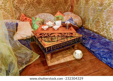Set for the tea ceremony in the interior - stock photo