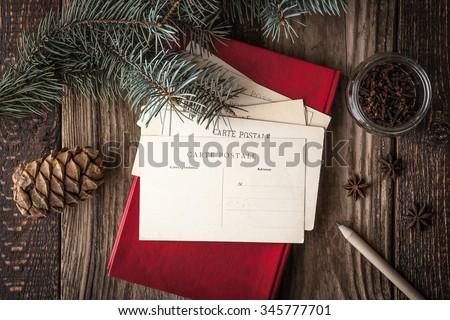Set for writing Christmas wishes horizontal - stock photo