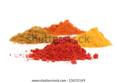 Set (four) of dry spices - stock photo