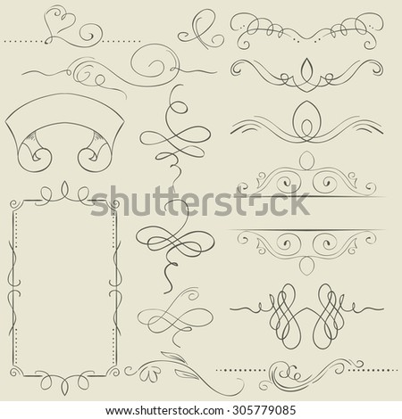 set. Frames and borders. Hand drawing - stock photo