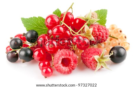 set fresh berries with green leaf isolated on white background - stock photo
