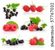 set fresh berry fruits with green leaves isolated on white background - stock photo