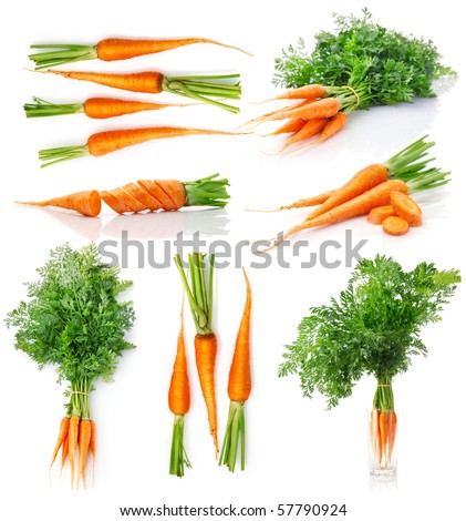 set fresh carrot fruits with green leaves isolated on white background - stock photo