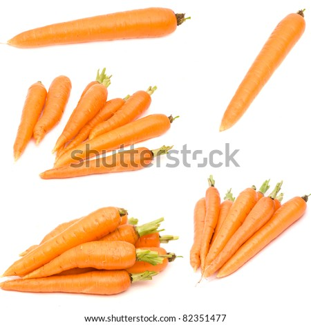 set fresh carrot isolated on white background - stock photo