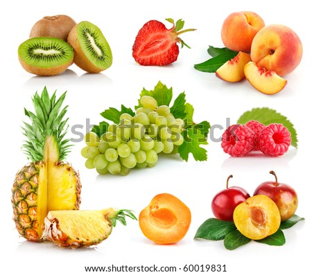 set fresh fruits with cut and green leaves isolated on white background - stock photo
