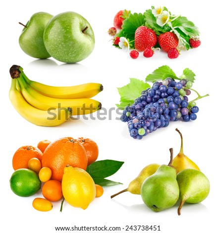 Set fresh fruits with green leaves. Isolated on white background - stock photo