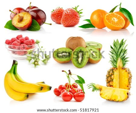 set fresh fruits with green leaves isolated on white background - stock photo