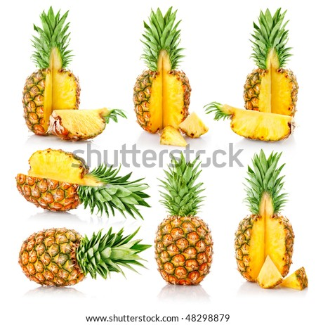 set fresh pineapple fruits with cut isolated on white background - stock photo